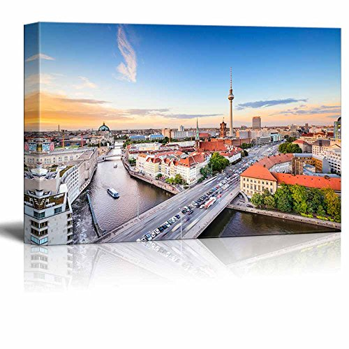 Canvas Prints Wall Art - Beautiful Landscape Berlin, Germany Skyline on The Spree River. | Modern Wall Decor/Home Decor Stretched Gallery Canvas Wraps Giclee Print & Ready to Hang - 16