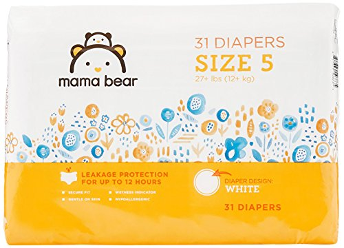 Amazon Brand - Mama Bear Diapers Size 5, 31 Count, White Print
