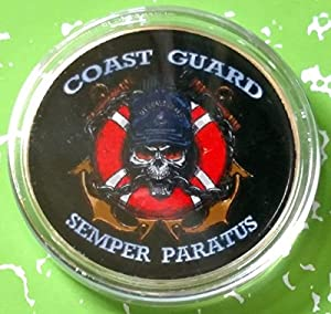 US Coast Guard Semper Paratus Military Colorized Challenge Art Coin by HMC