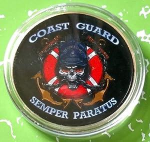 US Coast Guard Semper Paratus Military Colorized Challenge Art Coin by HMC