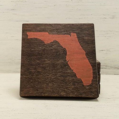 Pick State and Color, Florida Wood Coasters, Set of 4, Wedding, Housewarming, Baylor (State University Florida Wood)