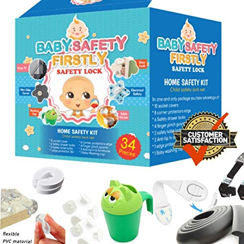 - Large Child Safety Kit Varied | Edge Table Childproof Cabinets, Drawers, Toilet, Wall Plugins, Doors, Fridge | Cabinet Locks, Corner Guards, Power Outlet Covers, TV Straps |3M Adhesive Included