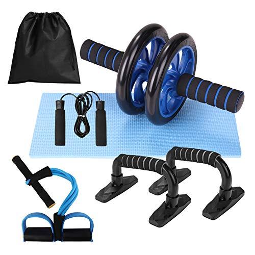 Lixada Rueda Abdominal Kit 5 en 1 con Push-UP Bar Cuerda para Saltar Esterilla de Rodilla para Entrenamiento Muscular…