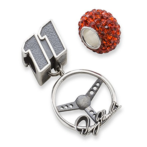 Denny Hamlin #11 Orange Crystal Car Number & Steering Wheel Sterling Silver Bead by Jewelry Stores Network