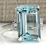 aquamarine ring sterling silver - Zhiwen Vintage Fashion Women 925 Silver Aquamarine Gemstone Ring Engagement Wedding Jewelry Size 5-11 (7#)