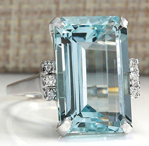 Zhiwen Vintage Fashion Women 925 Silver Aquamarine Gemstone Ring Engagement Wedding Jewelry Size 5-11 (6#)