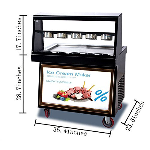 Ice Cream Maker Machine Fried 110V Integrated Ice Tray Light Dust cover