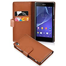 Cadorabo - Book Style Wallet Design for Sony Xperia Z2 with 2 Card Slots and Money Pouch - Etui Case Cover Protection in SADDLE-BROWN