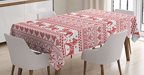 Festive Patterns - Ambesonne Nordic Tablecloth, Horses Hearts and Angels Norwegian Festive Motifs Cross Stitch Pattern Winter, Dining Room Kitchen Rectangular Table Cover, 52 W X 70 L Inches, Vermilion White