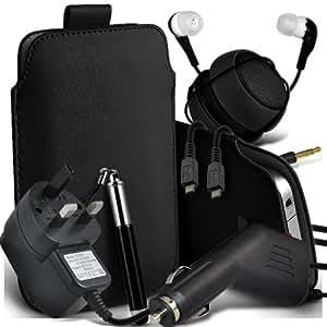 Samsung Galaxy Pocket Neo S55310 Protective PU Leather Slip cuerda del tirón en la bolsa del lanzamiento rápido con Mini capacitiva lápiz óptico retráctil, 3.5mm en auriculares del oído, Mini recargable altavoz de la cápsula, Micro USB CE aprobado 3 Pin Cargador 12v Micro cargador de coche (Negro)