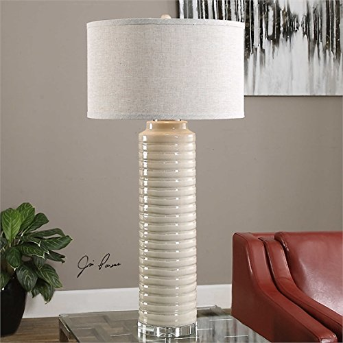 Ambient Ribbed Cylinder Ceramic Base Is Finished In A Warm Ivory-gray Glaze Accented With Crystal Details Ribbed Cylinder (Ribbed Crystal Table Lamp)