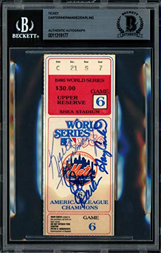 Gary Carter, Keith Hernandez & Ron Darling Autographed 1986 World Series Ticket New York Mets Beckett BAS #11319177