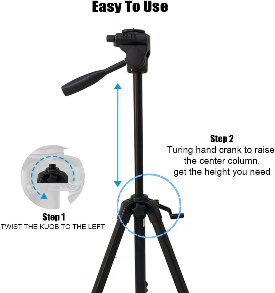 Camera Tripod,52//4.5 Ft 1//4 Quick Release Plates Professional Portable Lightweight Aluminum Alloy Monopod with Carrying Bag for Cellphone//Digital DSLR Camera//Video Recorder//Sports Camera