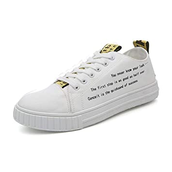 HhGold Zapatos Deportivos Planos para Hombre de 2018 Mocasines Casuales con Cordones Antideslizantes Low Top Sole Canvas Sneakers (Color : Blanco, ...