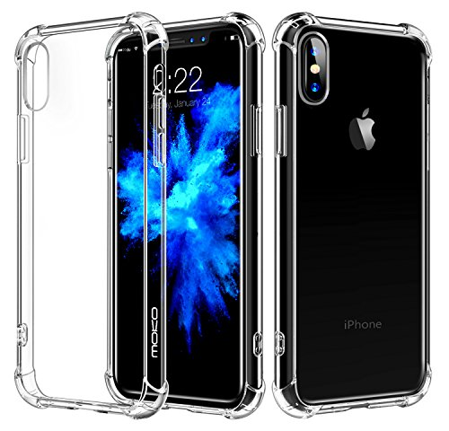 For iPhone X Case / iPhone 10 Case, MoKo Crystal Clear Reinforced Corners TPU Bumper Cushion + Anti-scratch Hybrid Rugged Transparent Panel Cover for Apple iPhone X 2017 - Crystal - Cover Skin Crystal