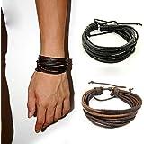 HuntGold 1X Fashion Unisex Leather Handcraft Wrist Bracelet Bangle Handlace Wrist Collar(coffe)