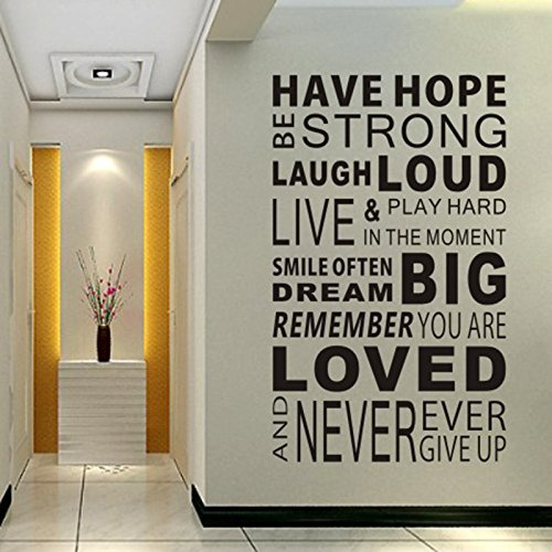 Inspirational Wall Decals Quotes,Word Wall Sticker Quotes,Motivational Wall Decal,Family Inspirational Wall Art Sticker Vinyl Wall Mural Paint Decor by Delma(TM)