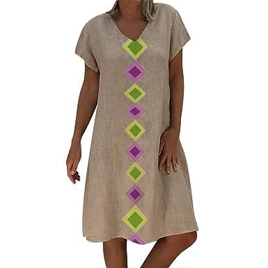 fc4f0762de Amazon.com  Corriee 2019 Gift Idea Ladies Cotton Linen Beach Dresses Womens  Summer Short Sleeve Geometric Print Shirt Dress  Clothing