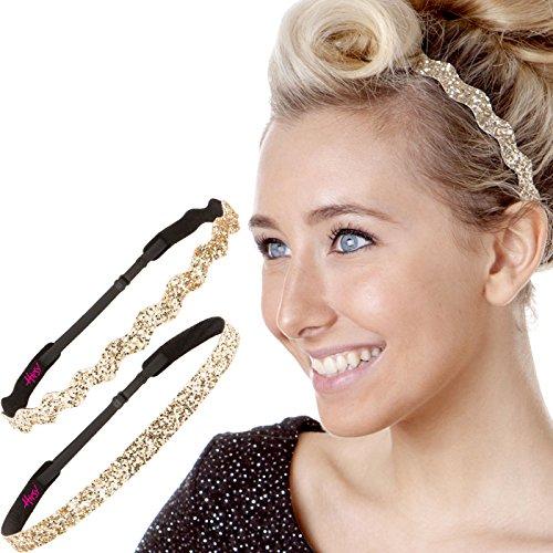 Hipsy 2pk Womens Adjustable NO SLIP Headband Golden Rod