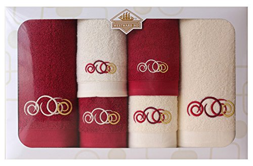 Westward Ho! Sphere Embroidery Box Towel, Cream/Bordeaux by Westward Ho!