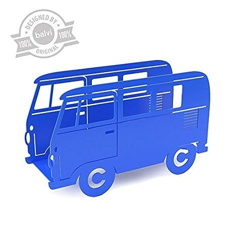 balvi/-/Van/Dekorativer/Zeitungsst/änder/in/Form/Eines/Retro-Kombiwagens./Farbe:/Blau./aus/Metall.