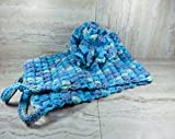 Blue Crochet Bath Pouf and Back Scrubber Set