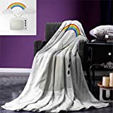 Vintage Rainbow Digital Printing Blanket Old TV with Raining Clouds on Antennas Broadcast Entertainment Technology Summer Quilt Comforter 80''x60'' Multicolor