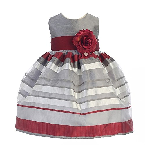 Crayon Kids Baby Girls Silver Burgundy Stripe Flower Christmas Dress 9M (Kids Christmas Dress)