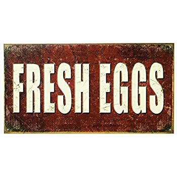 Fresh Eggs Tin Sign 9 x 16in