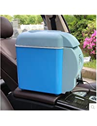 SL&BX Car refrigerator,Mini car refrigerator small freezer cooler fridge car refrigerator 7.5 liters l6l car dual-use portable fridge-Blue 34x21.5x32cm(13x8x13inch)