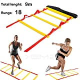 Speed Agility Training Exercise Ladder with Carry Bag, Home Gym Quickness Training Equipment, Soccer Football Fitness Fast Footwork Drills Aid, Adjustable Sport Cones Exercise Folder (red, 9M, 18-Rung)
