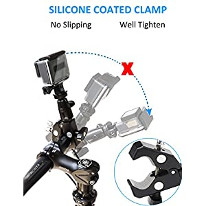 EXSHOW Bike Camera Mount,1/4-20 Thread Motorcycle Metal Holder for GoPro Hero 5,4,3+,3,2,1,Canon,Garmin,Nikon,SONY,CASIO,Kodak and other Cameras