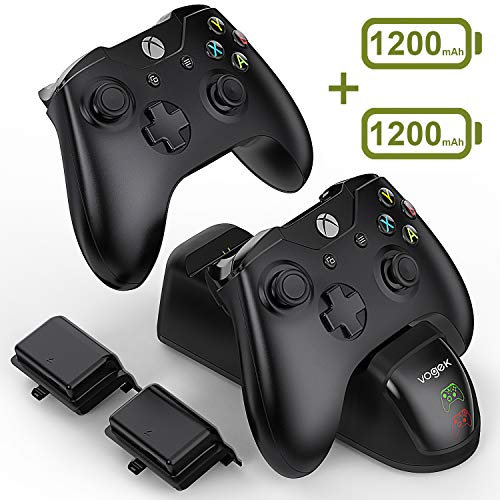 VOGEK Xbox One Controller Charger, 2 x 1200mAh Rechargeable Battery Packs [Dual Slot] High Speed Docking/Charging Station Wireless Controllers Charge Kit (Standard and Elite Compatible)
