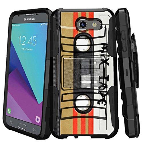 MINITURTLE Case Compatible w/Galaxy J3 Emerge / J3 Eclipse / J3 Luna Pro / J3 Mission Holster Case Dual Layer Protective Non Slip Belt-Clip Combo Cover w/Stand - Mix Tape Retro