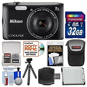 Nikon Coolpix A300 Wi-Fi Digital Camera (Black) with 32GB Card + Case + Battery + Flex Tripod + Kit