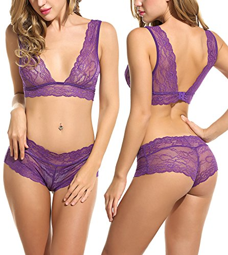 Avidlove Women Lingerie Sleepwear Lace Pajama Sexy Camisole Short Sets Purple S