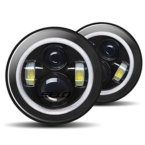 7 Color Led Rings - SELO 7 inch Jeep Wrangler Led Headlights With Daytime Running Light&Hi-Lo Beam For Wrangler 97-2016 JK TJ LJ CJ Hummer, Black,Pair