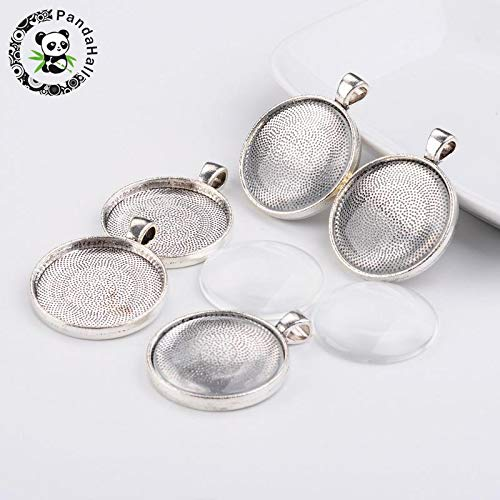 DIY Necklaces & Pendants Making | Cabochon Settings and Clear Circle Domed Glass Alloy Pendants ()