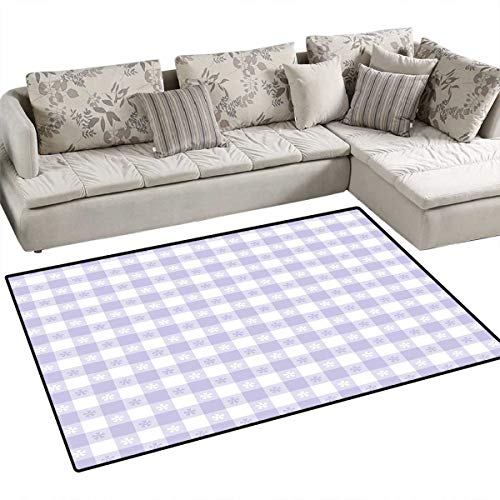 Lavender Anti-Skid Rugs Pastel Colored Classic Gingham Check Pattern with Delicate Small Blossoms Girls Rooms Kids Rooms Nursery Decor Mats 48
