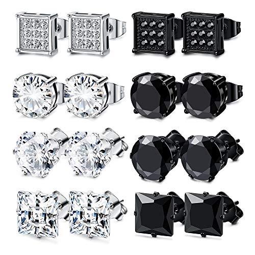 - JOERICA 8 Pairs Stainless Steel Stud Earrings for Men Women CZ Earrings 8MM