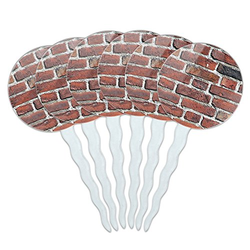 set-of-6-cupcake-picks-toppers-decoration-places-and-things-brick-wall-bricks-mason-masonry