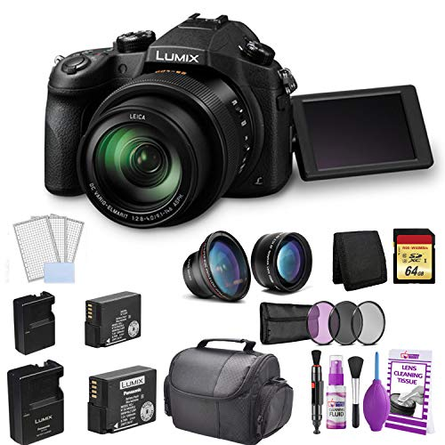 (Panasonic Lumix DMC-FZ1000 Digital Camera Bundle with BLC12B Replacement Battery + Travel Charger + Wide Angle and Telephoto Lens + 64GB Memory Card and More)