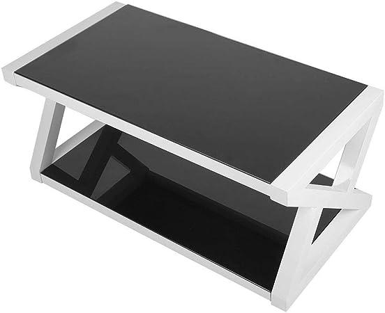 EBTOOLS Tavolino da Salotto in Vetro Temperato,Tavolo da caff/è Tavolino Basso Rettangolare per Soggiorno Nero Lucido 100 x 50 x 44 cm
