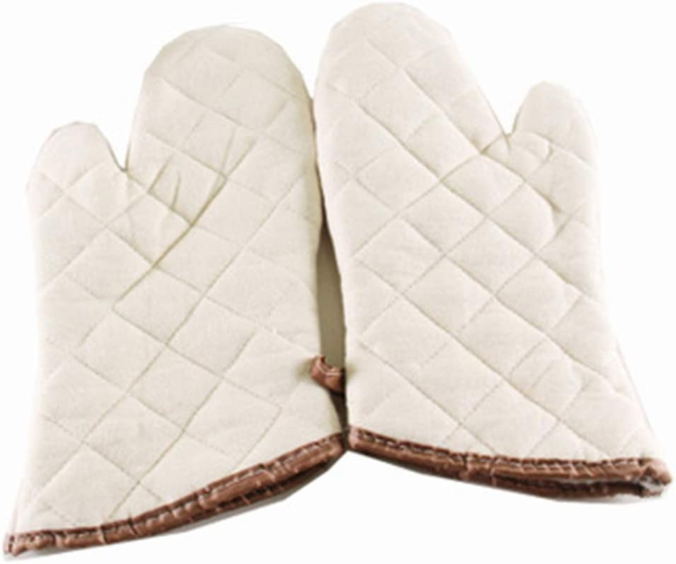 Oven Gloves Good Kitchen Helper, Oven Master 100% Cotton 200°C High Temperature Resistant White 2pack (Size : L)