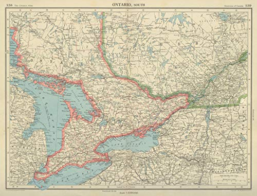 Ontario South. Counties. Lake Ontario Huron Erie. Canada. Bartholomew - 1947 - Old map - Antique map - Vintage map - Printed maps of Canada