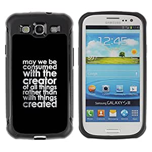 Suave TPU GEL Carcasa Funda Silicona Blando Estuche Caso de protección (para) Samsung Galaxy S3 III I9300 / CECELL Phone case / / Creator Christian Black Text Motivational Quote /