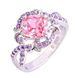 Empsoul 925 Sterling Silver Natural Chic Filled Pink & Amethyst Topaz Wedding Engagement Ring