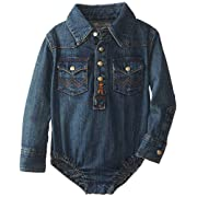Wrangler Babys Newborn Infant Boy's Bodysuit, Denim, 6-9 Months
