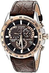 Citizen Eco-Drive Men's Perpetual Chrono A-T Analog Display Japanese Quartz Brown Watch (Model: AT4001-00X)
