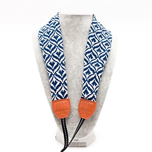 LIFEMATE Camera Strap,DSLR Camera Strap Universal Neck Strap ,Fabric Of Bohemia Floral Scarf Camera Strap For Women (blue and white pattern)